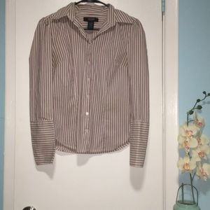 Express Stretch Stripped Buttoned Shirt Women's